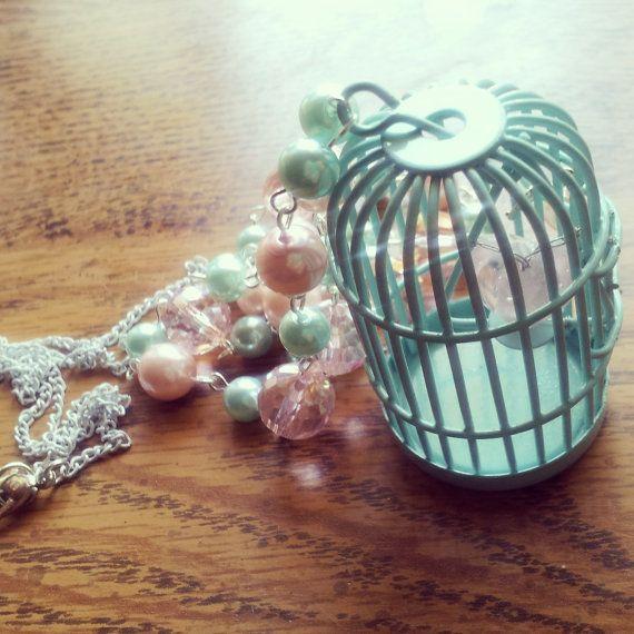 Blue Caged Heart Necklace by GypsyJunkStudio on Etsy, $25.00