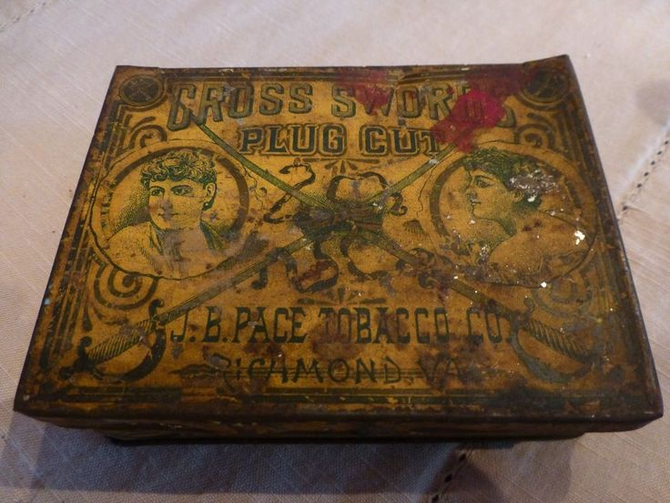 Vintage Cross Swords Plug Cut Tobacco Hinged Tin Can - NO TOBACCO INCLUDED