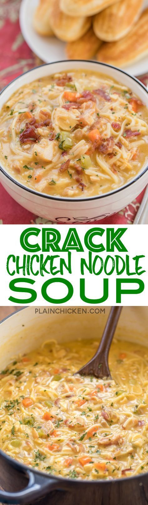 Crack Chicken Noodle Soup - this soup should come with a warning label! SO GOOD!!! Ready in 30 minutes! Chicken, cheese soup, milk, chicken broth, celery, carrots, ranch mix, bacon, cheddar cheese and egg noodles. Everyone went back for seconds - even our
