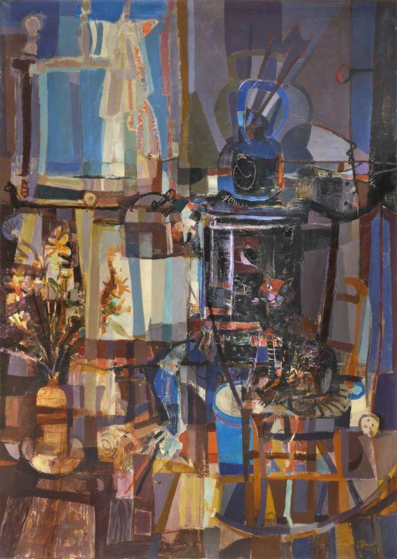 """ALONSO, Carlos  Argentino 1929- """"INTERIOR DEL TALLER"""" Pintura al óleo sobre tela. Firmada C. ALONSO y fechada 60 abajo a la derecha. Titulada en el bastidor. Medidas: 180 x 130 cm"""
