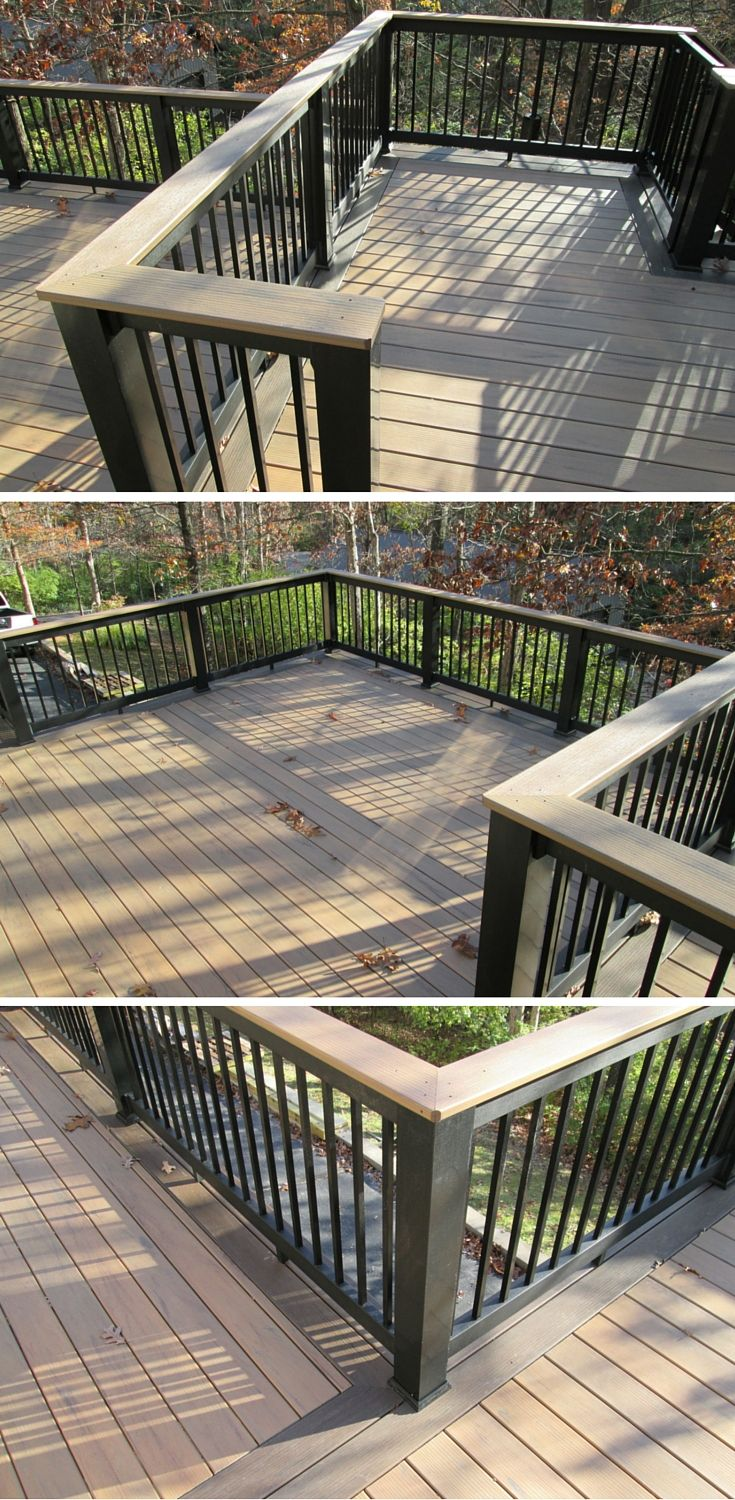 A second story deck with multiple levels was designed with low maintenance materials for the floor board, rails and balusters. Notice the two-tone decking pattern with plank color change. | houzz.com