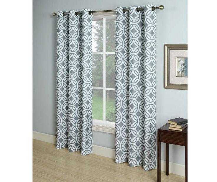 Gray Microfiber Curtain Panel, ...