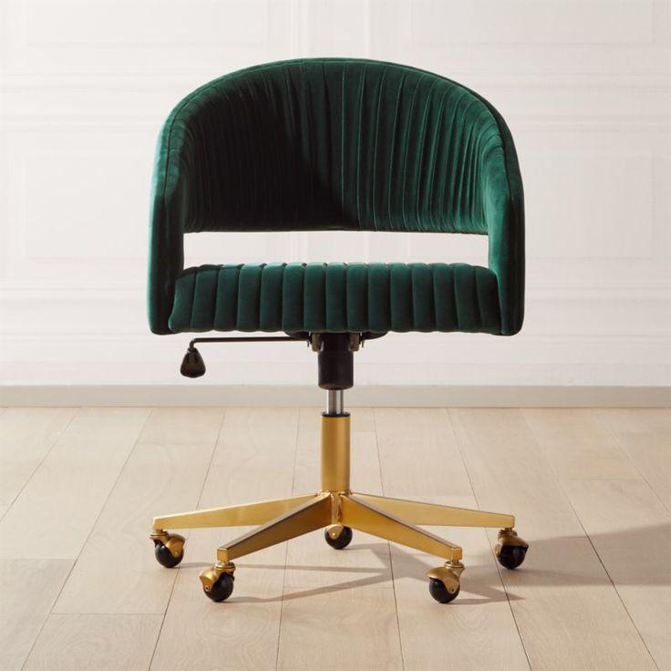 Channel green velvet office chair reviews cb2 velvet