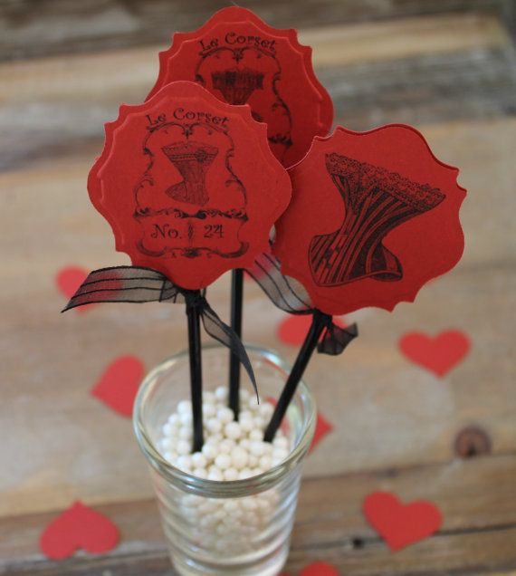 12 Bridal Shower Cupcake Toppers and Wrappers - Red & Black Vintage Corsets - Perfect for Lingerie, Burlesque theme or Bachelorette Party