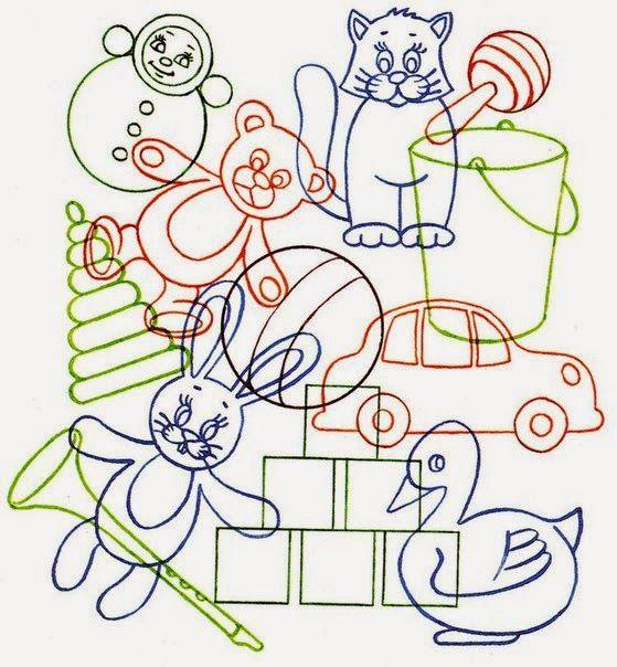 Зашумленные картинки представляют собой контуры наложенных друг на друга предметов, геометрических фигур или животных. Изображения можн...