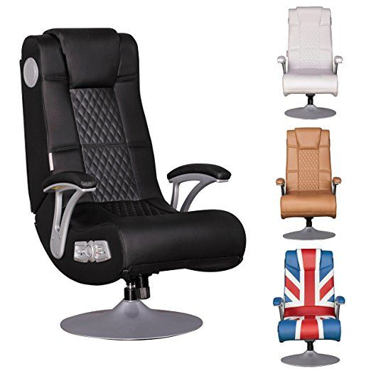 WOHNLING SPECTER - Multimediasessel aus Kunstleder in schwarz | Gaming Stuhl mit Lautsprecher & Subwoofer | Musik Sessel mit Soundsystem