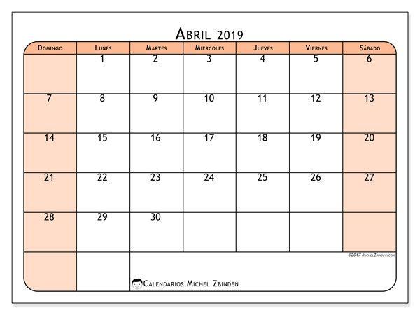 Calendario Abril 2019 61ds Calendario Para Imprimir