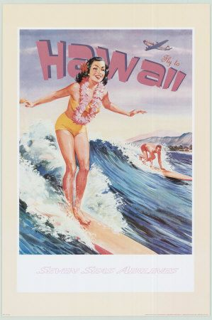 Fly to Hawaii Art Print | I actually want this for a bathroom
