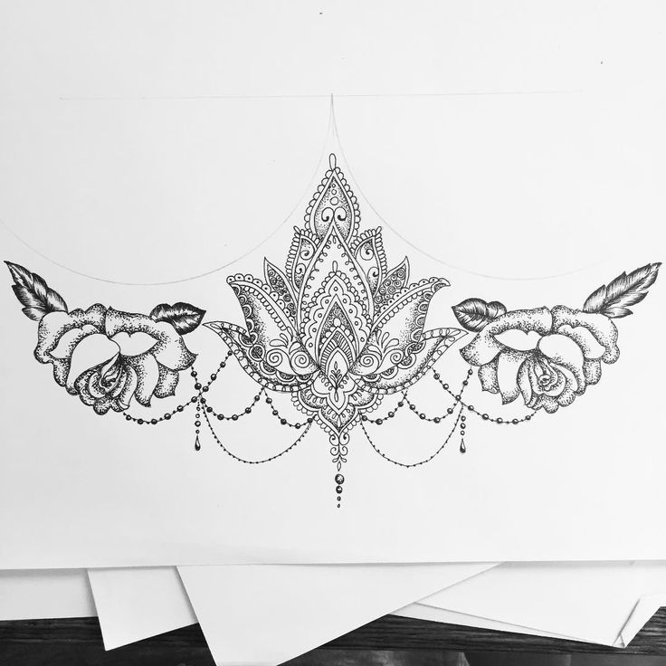 Tattoo Sternum - Mandala Rose Lotus