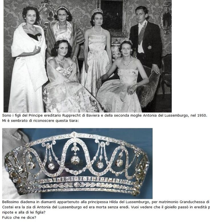 Hilda's tiara was inherited by her niece, Antonia, who went onto wed into the Bavarian royals, and can be seen above worn by the lady standing next to the picture above. It was later sold as described in the previous pins