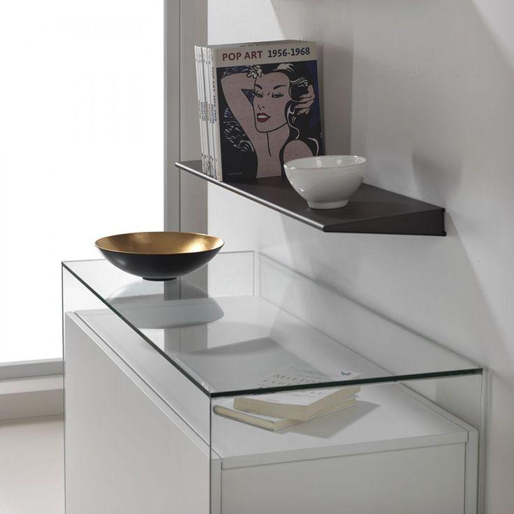 Ensemble Console verre transparent et console extensible PROTEO GLASS blanc mat