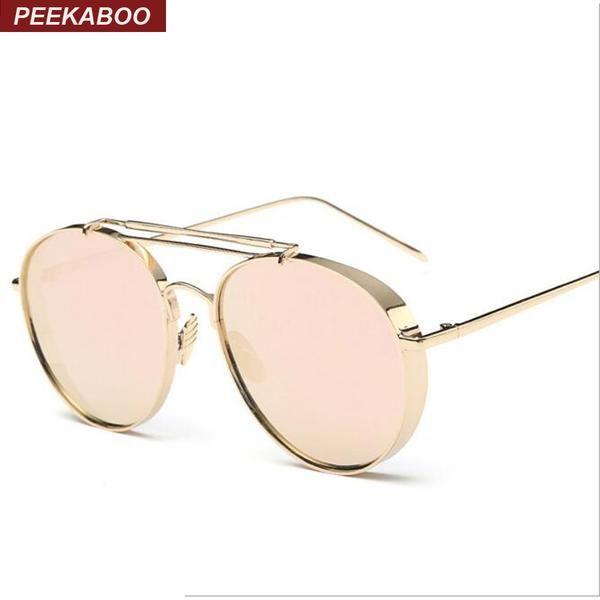 #SUNGLASSES #NEW Peekaboo Windproof flat top gold mens designer sunglasses 2016 mirror coating oversize luxury quality metal sunglasses…