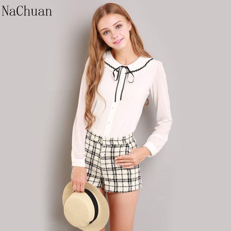 Na CHUAN moda feminina elegante laço branco blusas de Chiffon peter pan collar casual doll escola tops blusa mulheres Plus em Blusas de Roupas e Acessórios no AliExpress.com | Alibaba Group