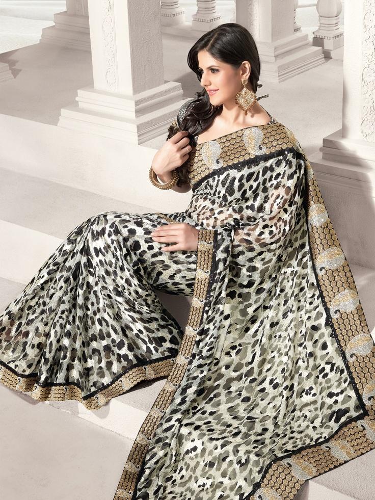 Sarees, Sari, Georgette Saree, Black Saree, Saree by #Utsavfashion   $102.09