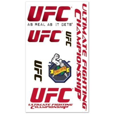 UFC OFFICIAL LOGO TATTOOS by UFC. $5.94. Officially licensed by the UFC. Top Quality, Manufactured by Wincraft. You get a variety of cool temporary tattoos in this set. Varying sizes perfect for the arms, chest and face. Easy to apply. Takes only about 30 seconds. Easy to remove using rubbing alcohol or baby oil. Vibrant colors and crisp graphics. Official team logos and colors. Officially licensed by the league and the team. A terrific gift idea. Made in the USA. Availability: ...