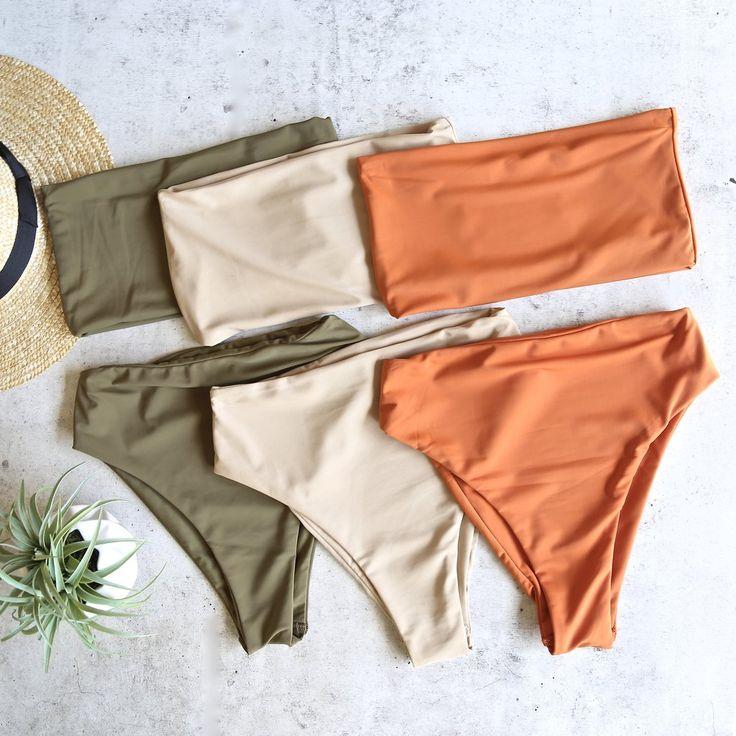 reverse - high waisted bandeau bikini set - more colors