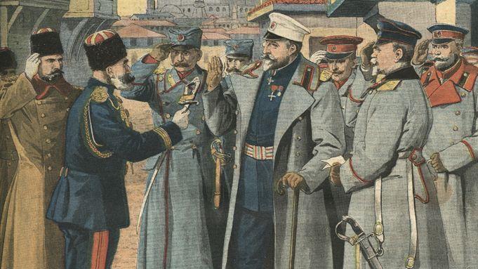 King Ferdinand of Bulgaria accepting Turkish surrender, Balkan Wars, 1912. Unknown artist