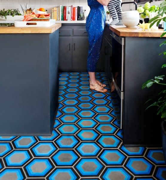 Concrete floors that have been stained, colored, painted and personalized are popping up in retail stores, trendy restaurants, offices and homes everywhere. Kismet Tile, for example, is a Moroccan-made cement tile crafted with bold modern motifs, which highlight their beauty and ease. Kismet Tile