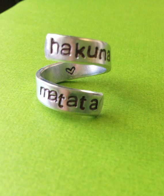 Hakuna Matata with Heart Hand Stamped by StampedExpressionsCo, $8.95 .... imma get this!!!!