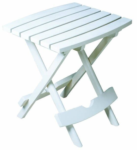 Outdoor Patio Furniture Quik-Fold Side Table Backyard Pool Decor New White #AdamsManufacturing