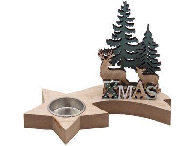 teelichthalter stern xmas hirsch holz weihnachten advent. Black Bedroom Furniture Sets. Home Design Ideas