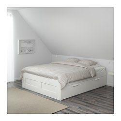 IKEA - BRIMNES, Bedframe met opberglades, 160x200 cm, , , De 4 geïntegreerde uittrekbare lades bieden extra opbergruimte onder het bed.De zijkanten van dit bed zijn verstelbaar en dat maakt het mogelijk om matrassen van verschillende diktes te gebruiken.