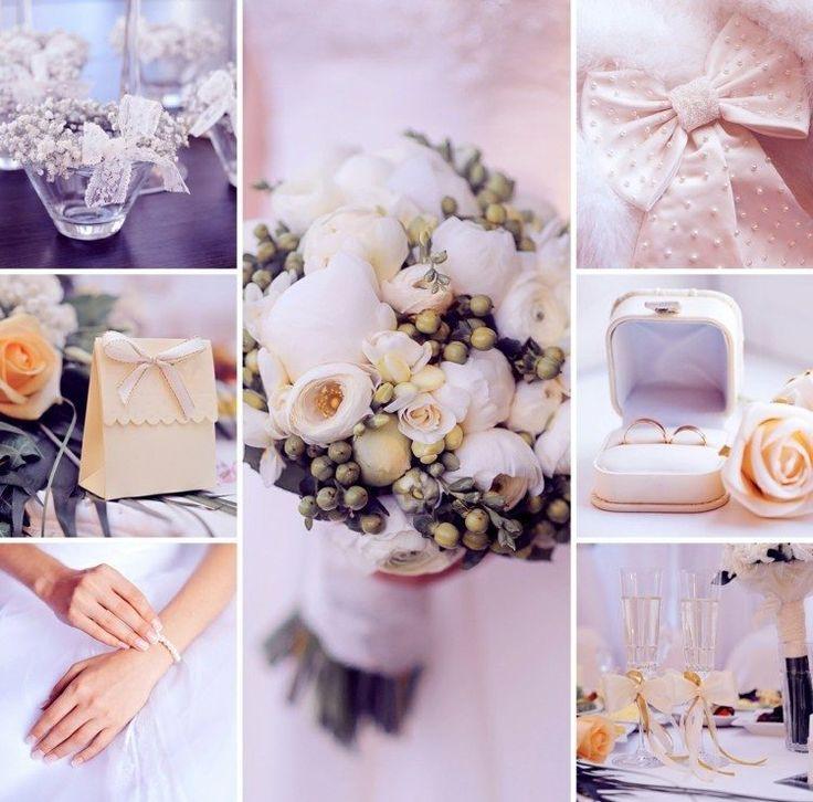 idées décoration mariage en couleurs pastel - bouquet de pivoines blanches, rubans, boîte cadeau et écrin à bague de couleur champagne