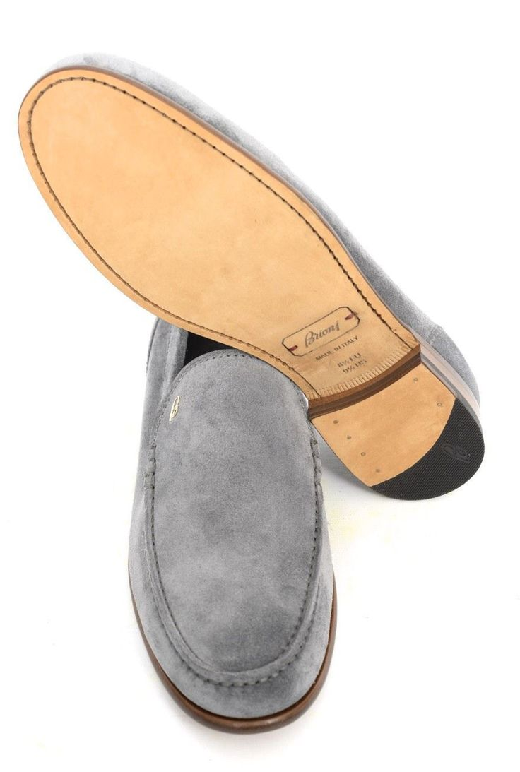 Get a dapper casual look, in these Brioni gray suede leather slip-on loafers! | Find yours! http://www.frieschskys.com/shop-brioni | #frieschskys #mensfashion #fashion #mensstyle #style #moda #menswear #dapper #stylish #MadeInItaly #Italy #couture #highfashion #designer #shopping