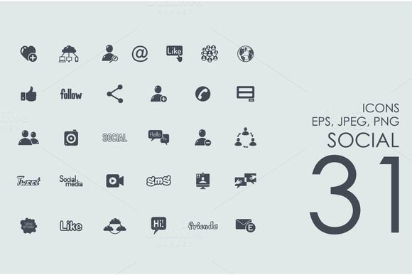31 social network icons by Palau on @creativemarket