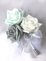 LADIES CORSAGE, MINT, GREY & WHITE ROSES, DIAMANTES, ARTIFICIAL WEDDING FLOWERS