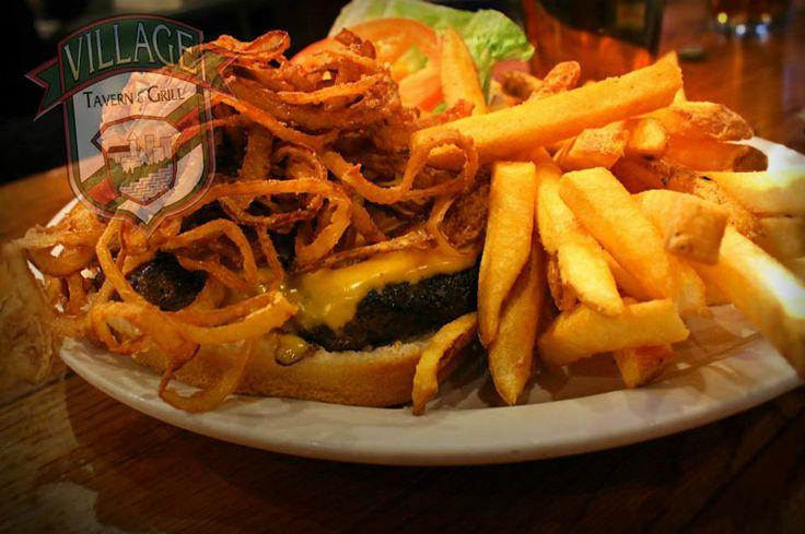 Black Angus Onion Shoestring Burger  #bestburgers #villagetavern #carolstream