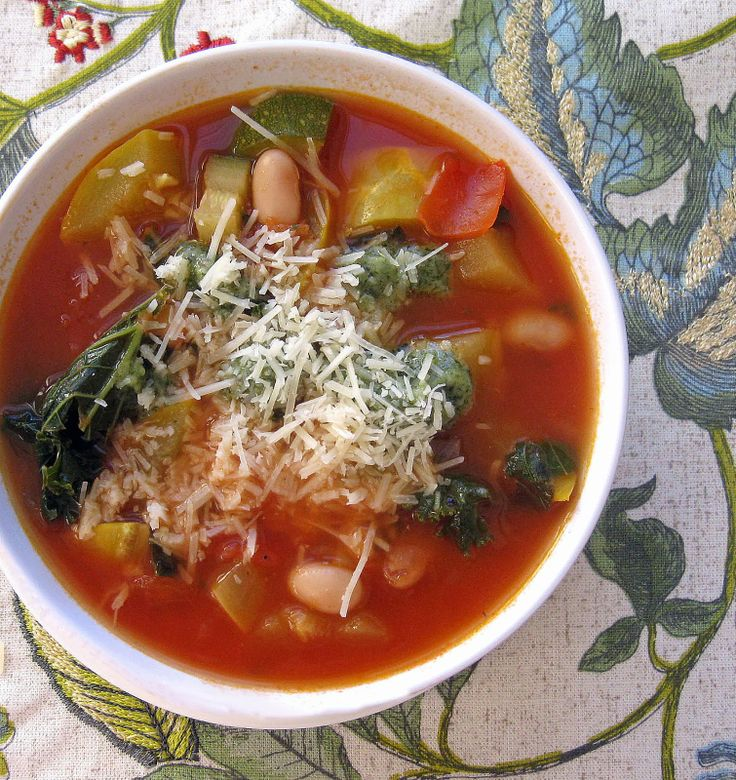 Tomato-Zucchini Soup with Kale, Yellow Squash, & Cannellini Beans (Topped with Parmesan Cheese & Pesto Drizzle) | Cooking with Corey. #healthy #vegetarian #vegetable #tomato #zucchini #soup #kale #yellow #squash #cannellini #beans #parmesan #cheese #pesto #soup #lunch #dinner #recipe