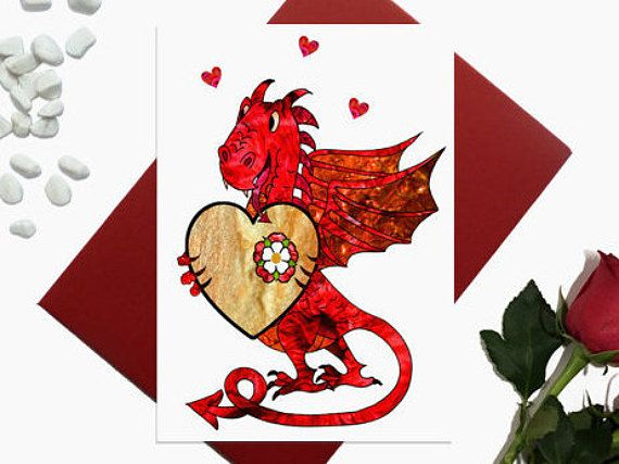 Valentine's day card  Welsh Dragon card  Birthday card