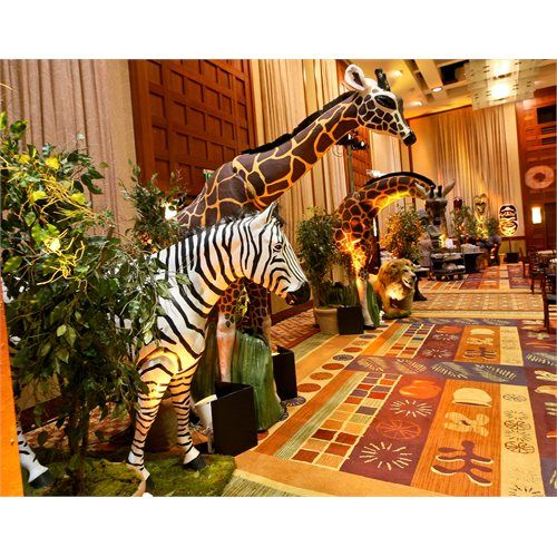 West african themed party life size animal props for African party decoration ideas