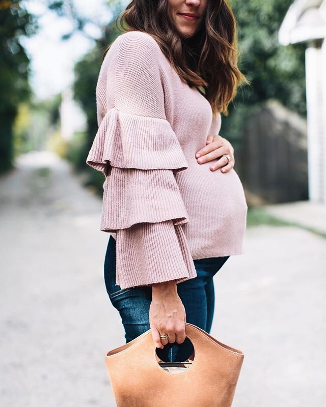 Obsessing over subtle shades of pink for fall the ruffles on this sweater are so fun and it is under $100 (wearing a small) also, this bump, only 7 weeks to go http://liketk.it/2sWNo #liketkit