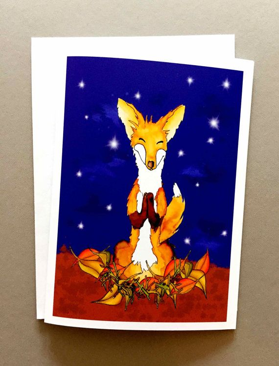 Grateful fox Christmas holiday thank you Thanksgiving greeting card peaceful custom