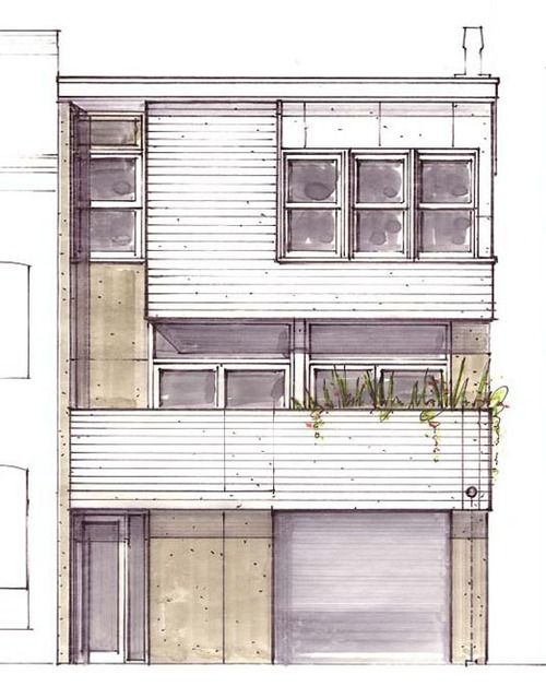 Architectural elevation rendering - Marker render