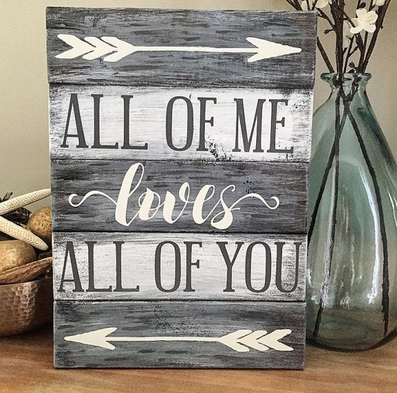 All of me loves all of you sign  Wedding Gift by CoastalCraftyMama: