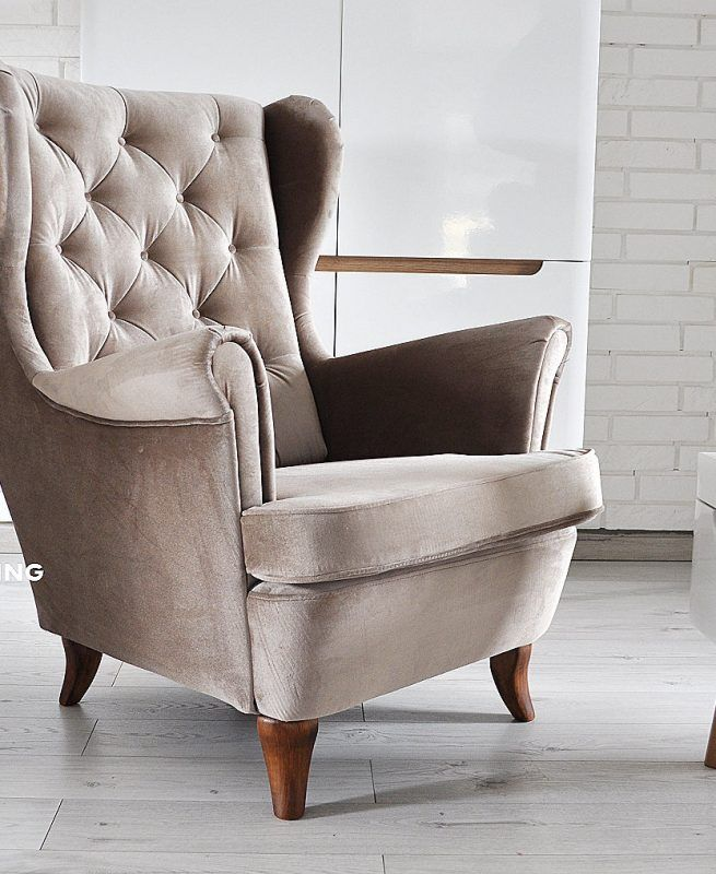 Fotel uszak duży masywny i wygodny w tkaninie LATTE plusz. Dodaj wnętrzu elegancji i stylu