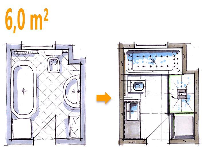 Badplanung Beispiel 6 qm Komfortables Wellnessbad mit Waschmaschine