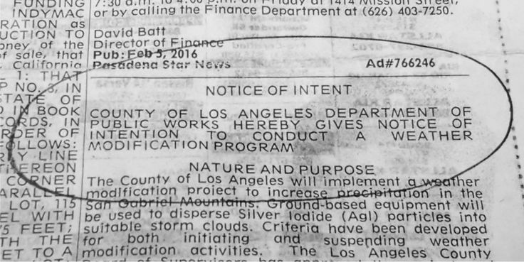 """No longer a """"conspiracy theory"""", the government recently announced their plan to carry out weather modification in Los Angeles County – in the local classifieds"""