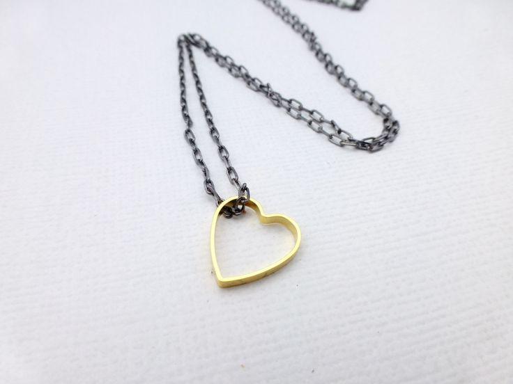 Tiny Brass Heart Necklace - Whimsy & Grace