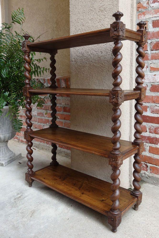 TALL Antique English Oak Carved BARLEY TWIST Wall SHELF