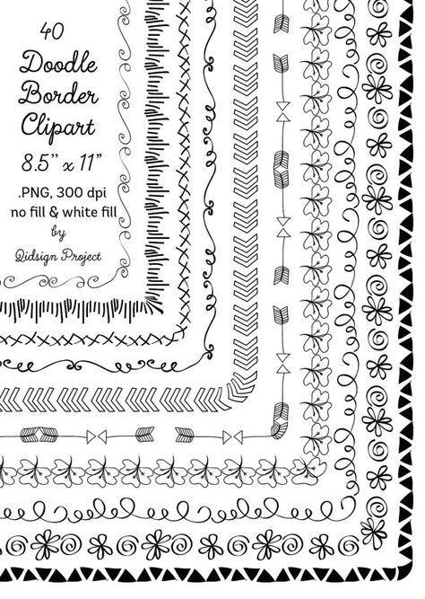 40 hand drawn frames doodle borders digital frames clipart teacher clip art commercial use instant download