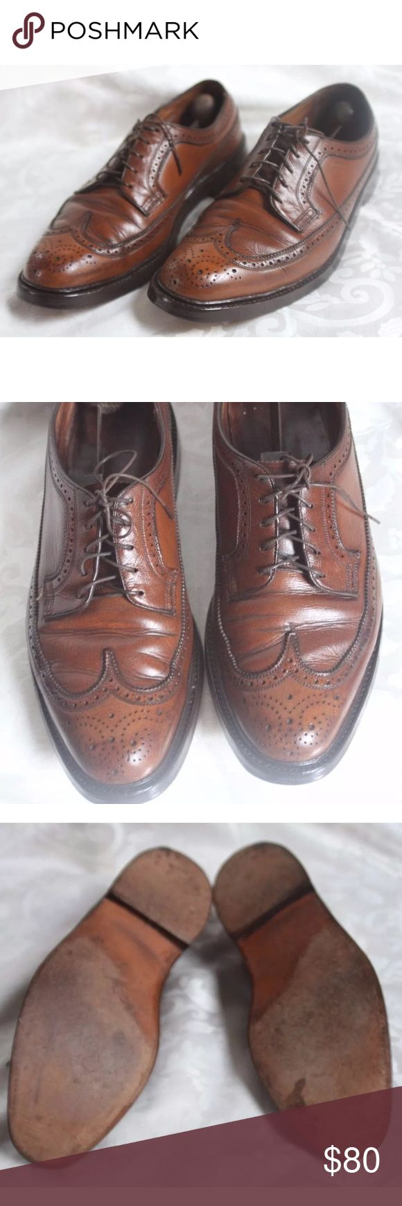 Vintage Florsheim Imperial 10 D Brown Dress Shoes Brand: Florsheim Imperial  	•	Size: 10 (Mens) 	•	Model N0: 93602 	•	Production Date: April (year is between 1957-1987) possibly before 1973 due to the V-Cleat being in flush with the shoe dates pre-1973) 	•	Details: 	◦	Cashmere Calf 	◦	Full Leather Lining  	◦	Double Leather Soles  	◦	Storm Welt 	◦	Leather Heels with V-Cleat  	•	Hand Stained Brown Longwing Shoe 	•	Great condition!! Florsheim Shoes Oxfords & Derbys