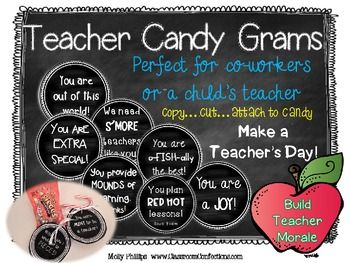 Teacher Appreciation Candy Grams {for co-workers or your c