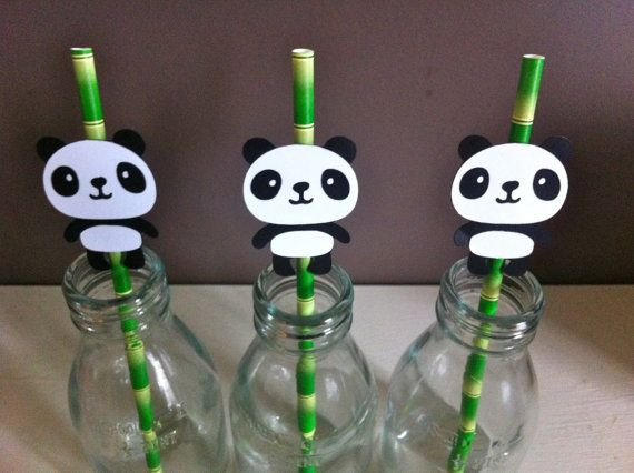 12 PANDA Party Straw Toppers & Straws Panda by KatesPartyShop, £11.99