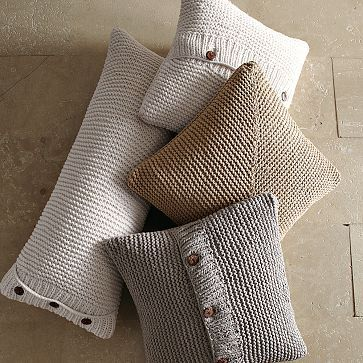 Loving these knit pillows from west elm; I wonder if I could do this from unspun roving on fat needles?
