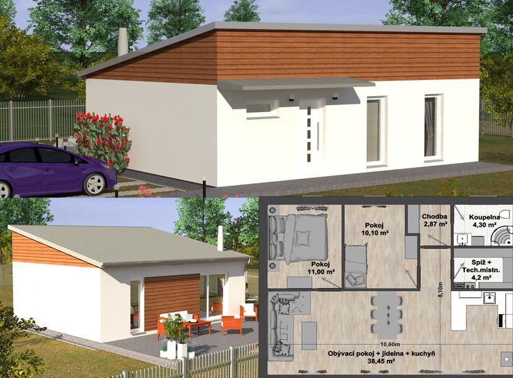 Přízemní dům G2 74 s dispozičním řešením 3+kk je skvělou volbou nejen pro menší rodiny. V dobře koncipovaném domě Vás nadchne prostorný obývací pokoj, který je propojen s kuchyní a jídelnou, dále dům nabízí další dva pokoje. Koupelna, spíž a technická místnost jsou umístěny v jednom komplexním celku, který si lze vybrat ze tří nabízených variant nebo sestavit podle Vašeho přání. Francouzská okna napomáhají k propojení pokojů s okolní zahradou a také do domu propouštějí dostatek denního…