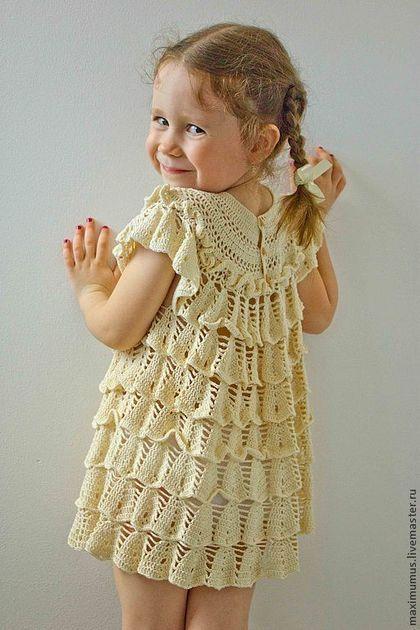 Crochet dress for a girl / Платье-туника Озорной колокольчик. Нарядные и крестильные платья для девочек. Мастер Михович Юлия.